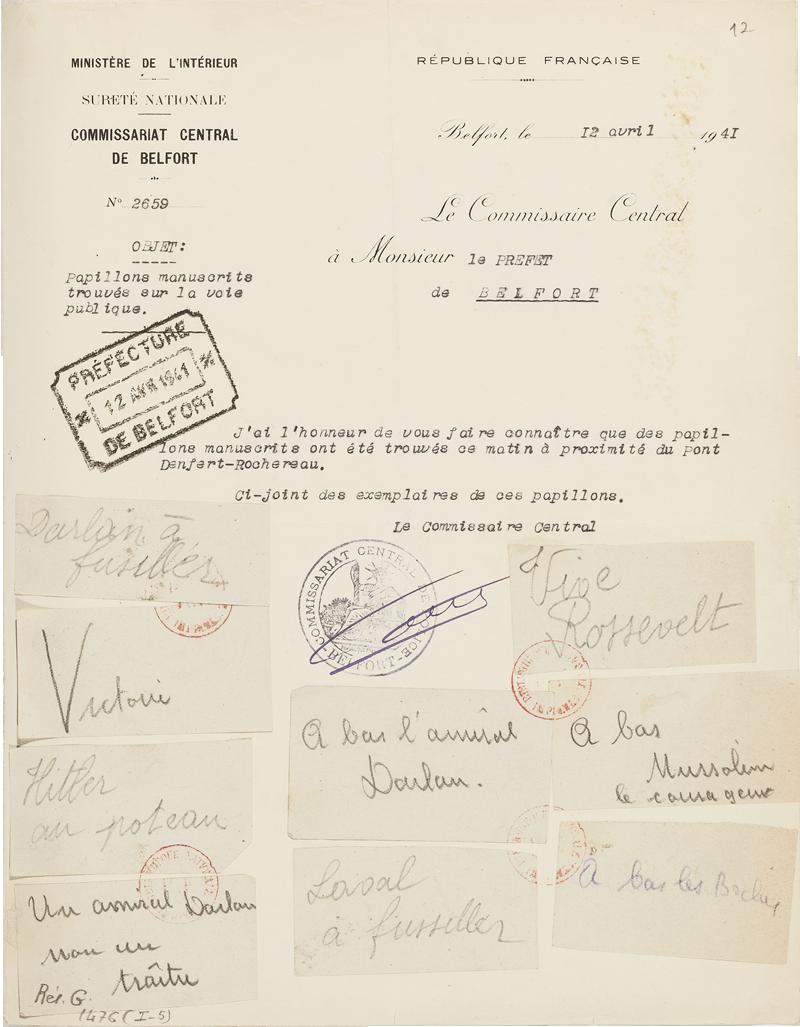 Tracts et papillons clandestins de la r sistance papiers - Grille indiciaire commissaire de police ...